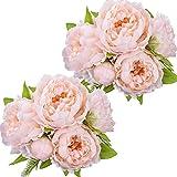 Ramo de Flores de peonía de Seda Artificial Peonías Falsas para decoración de centros de Mesa de hogar de Fiesta de Boda, 2 Ramos (champán)