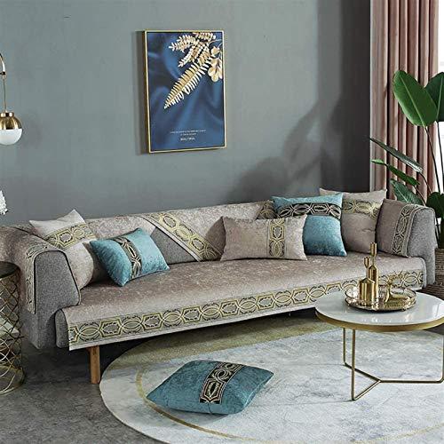 L&B-MR Funda de sofá antideslizante para sofá, tela jacquard, protector de muebles para perros, color caqui, tamaño: 70 x 180 cm