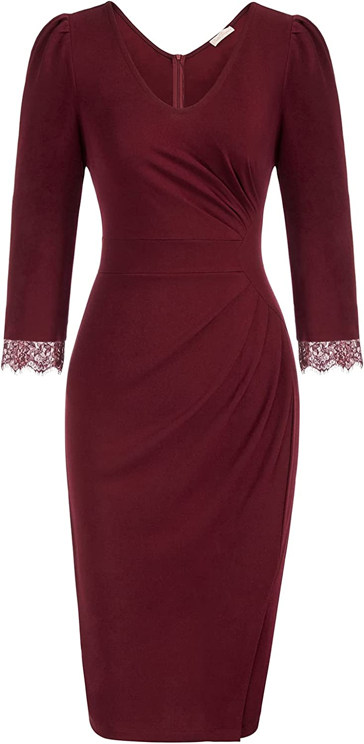 Belle Poque Women 3 4 Sleeve Dress Limited Special Price Bodycon Work Business Ruched Chicago Mall