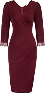 Women 3/4 Sleeve Work Dress Ruched Bodycon Business Party...