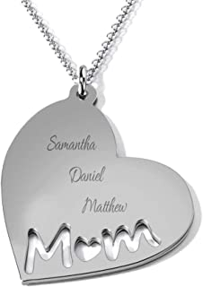 Sterling Silver Mom's Heart Engravable Necklace by JEWLR