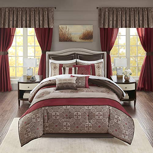 """Madison Park Essentials 24-Piece Room In A Bag Comforter Set-Satin Jacquard All Season Luxury Bedding, Sheets, decorative pillows and Curtains, Valance, King(104""""x92""""), Delaney, Medallion Red"""