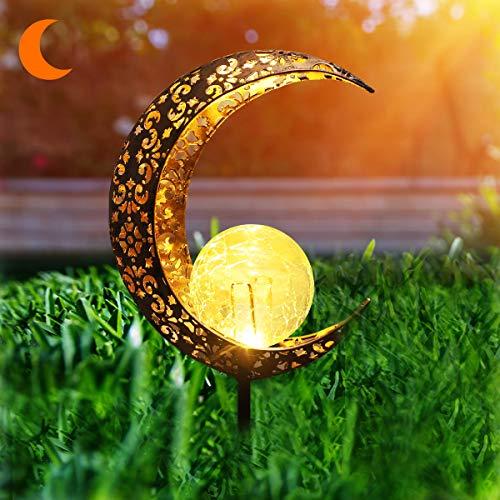 Herefun Solarlampe für Außen, Solar Mond Lampe LED Gartenfahlständer Solarleuchte, Solarleuchten Mond Gartenlampe Wasserdicht Gartendeko für Außen Terrasse Rasen Wege Hof