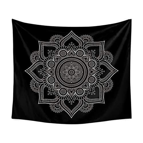 Beydodo Tapisserie Wandbehang Indian Mandala Wandbehang Wohnzimmer Schwarz Wandteppich Vintage 200x150CM