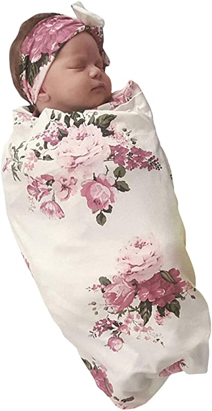 Infant Baby Summer Floral Receiving Blankets Coming Home Outfit Girls Sleeping Bag Swaddle Blanket With Headband Set