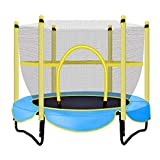 QQJL Mini Trampoline for Kids,38inch Portable Rebounder Trampoline for Toddler with Adjustable Foam Handle,Foldable Fitness Body Exercise for Indoor and Outdoor Play Max Load 220lbs,Blue