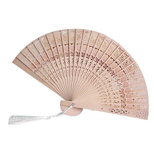 Andouy Retro Faltfächer/Handfächer/Papierfächer/Federfächer/Sandelholz Fan/Bambusfächer für Hochzeit, Party, Tanzen(23cm.Sonnenblume)