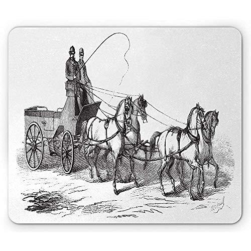 Western paard onderlegger, oude gegraveerde illustratie van wagen met 4 wielen op eenvoudige achtergrond, antraciet