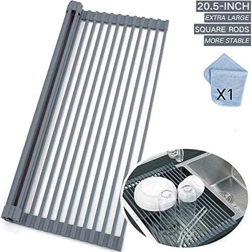 Roll Up Dish Drying Rack 20.5 X 13 inch, Stainless Steel Rods with Full Silicone Coated Anti-Rust and Anti-Slip - Include 1pcs Dishcloth, Multipurpose Foldable Over Sink Kitchen Drainer Rack - Gray