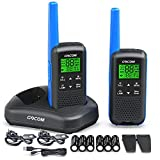 GOCOM G600 FRS Walkie Talkies for Adults Long Range Two Way Radio Rechargeable, VOX Scan, NOAA & Weather Alerts, LED Lamplight 2pack Hand held radios
