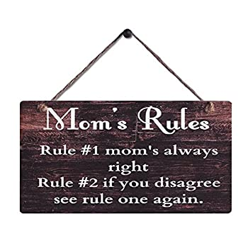 Smarten Arts Rustic Wood Sign Wall Hanging Plaque Vintage Style Mom s Rules Motto Sign Size 11.5  x 6