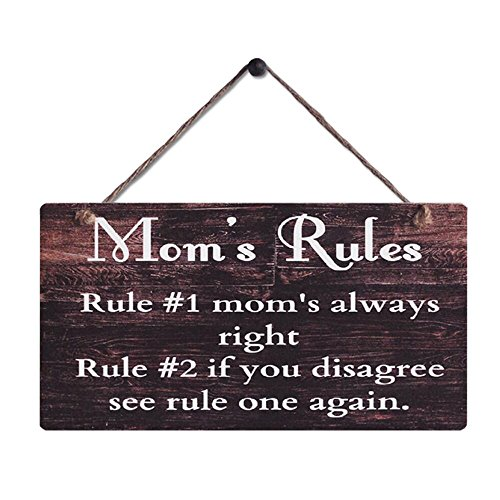 mom plaques Smarten Arts Rustic Wood Sign Wall Hanging Plaque Vintage Style Mom's Rules Motto Sign Size 11.5