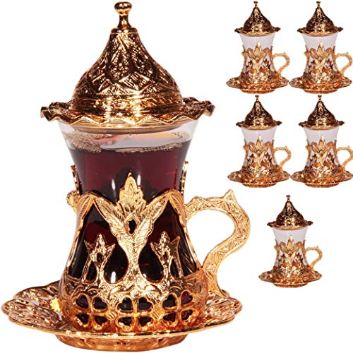 Juego de 6 vasos hechos a mano con agua de té turco Zamzam para servi