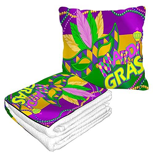 Mardi Gras Mascarilla Manta de viaje 2 en 1 Orleans Buffoon Caricaturas Colorido Púrpura Amarillo Verde Manta de Avión Hogar Sofá Mullido Franela Oficina Manta