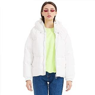 Women's Down Jacket, Heavy Waterproof Windproof Hooded Winter Warm Jacket Down Jacket,White,L