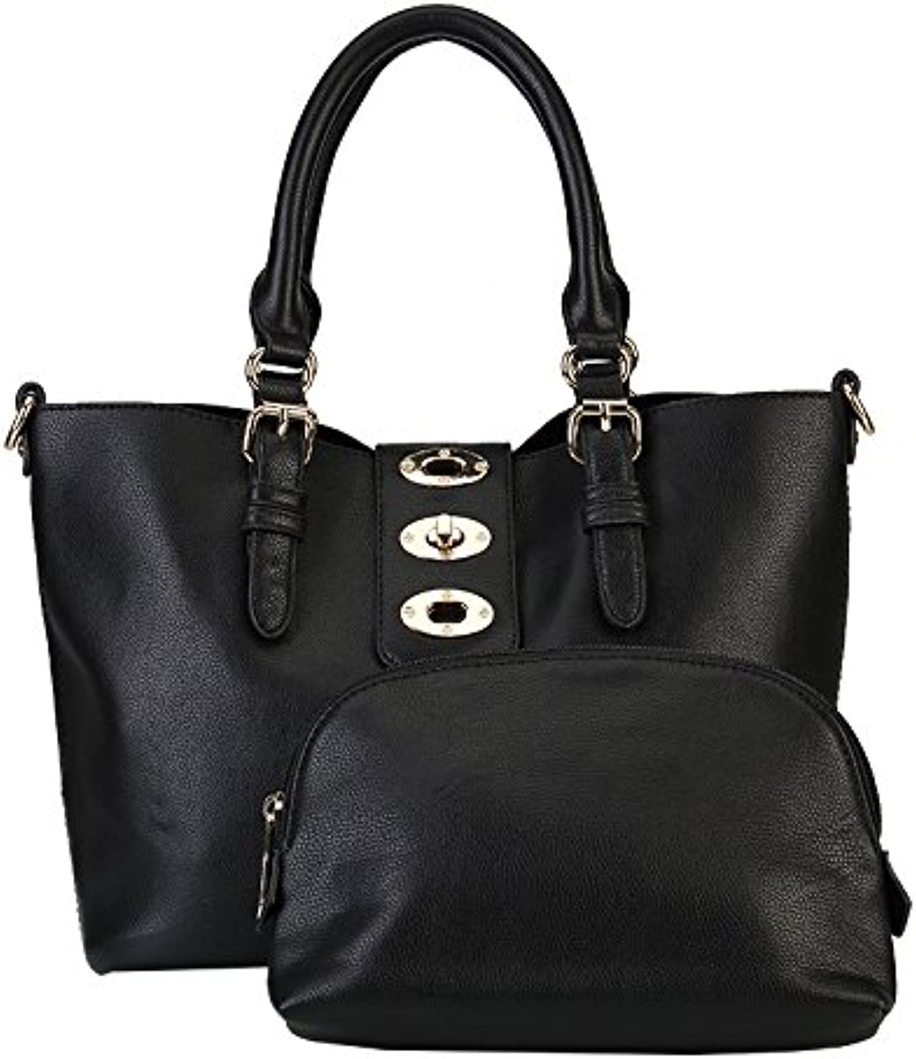 Fraless Collection Fliplock Flap Closure Bag in Bag Design Hobo Handbag