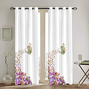 Butterflies Narcissus Flowers Violets Pansies Pouring Outblackout Curtains, Thermal Insulation Curtains, Silk Satin Polyester Blended Curtains, Suitable for Bedroom, 52 X 84 in, 2 Panels.