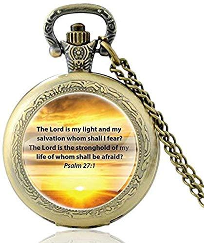 tian tian baby Bronzo Vintage The Lord is My Light Orologio da Tasca al Quarzo con Versetto della Bibbia Orologi da Uomo Vintage con Collana