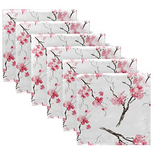 YYZZH Set of 6 Watercolor Cherry Blossom Pattern Floral Print On White Cloth Napkins Washable Polyester Dinner Napkins 20