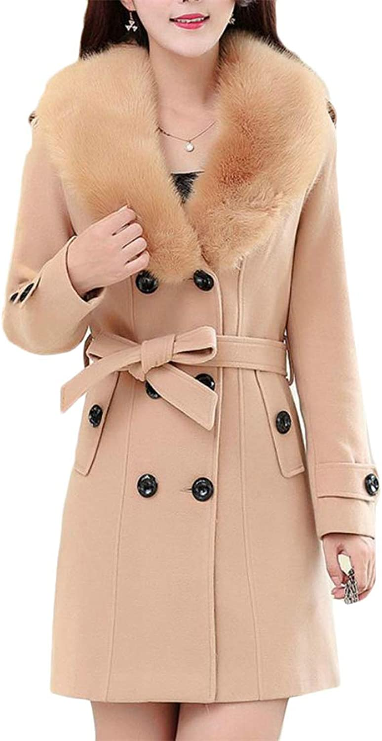 Etecredpow Womens Mid Long Long Sleeve Outer Double Breasted Faux Fur Collar Woolen Solid Pea Coat