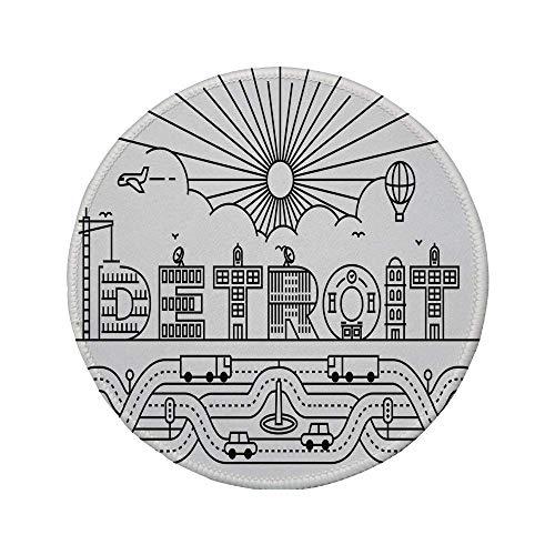 Alfombrilla de ratón Redonda de Goma Antideslizante decoración de Detroit tipografía de la Ciudad de Detroit con Letras de construcción Transporte Globo aerostático Decorativo Blanco y Negro 7.9
