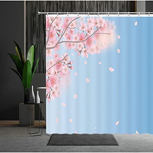 Duschvorhang 180X180 Pfirsichblüte Duschvorhang Anti-Schimmel & Wasserabweisend Shower Curtain, Duschvorhänge mit 12 Haken,Duschvorhang Textil Waschbar,Polyester