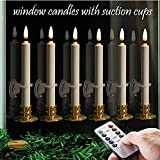 6PACK Flameless Window Candles Set. with 6 Clips+6 Suction Cup+6 Golden Candleholders. Bat...
