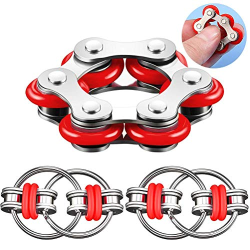 HAOCAI 3 piezas juguete fidget con cadena de dedo para el estrés, juguete de descompresión para autismo, estrés y alivio de ansiedad