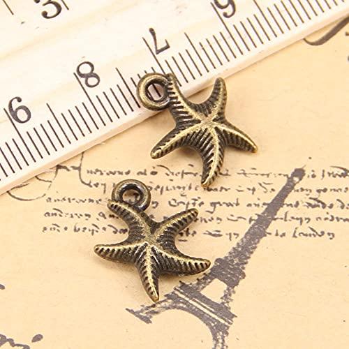 WANM Encanto 24 Uds Encantos De Estrella De Mar De Doble Cara 16X14Mm Colgante Antiguo Vintage Joyería De Plata Tibetana DIY para Collar De Pulsera
