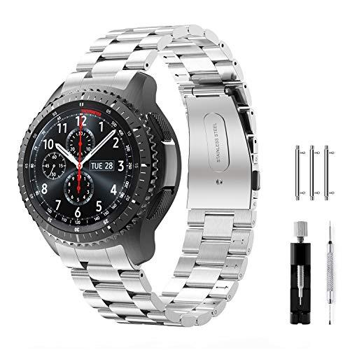 Syxinn Compatible con Correa de Reloj Gear S3 Frontier/Classic/Galaxy Watch 46mm Banda Pulseras de Repuesto, 22mm Acero Inoxidable Metal Pulsera para Gear S3/Galaxy Watch 46mm