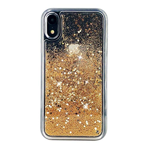 "uCOLOR Sparkle Gold Glitter Case Compatible for iPhone XR Shiny Bling Waterfall Liquid Sparkling Quicksand Clear Protective Case Compatible for iPhone XR(6.1"")"