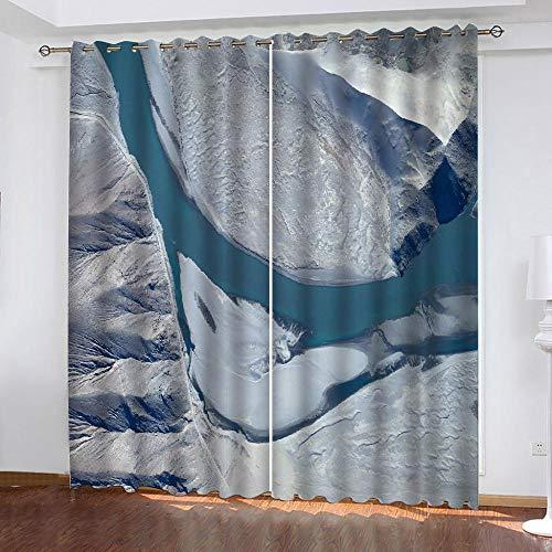 LOVEXOO Curtains Satellitenbilder Vorhang Blickdicht Gardinen - Lichtundurchlässige Vorhang mit Ösen für...
