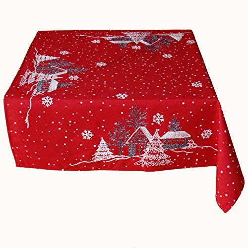 Raebel OHG tafelloper borduurwerk winterdorp dennen kerst wit decoratie kersttafelkleed
