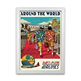 Daft Punk Around The World Retro-Musikposter, gerahmt,