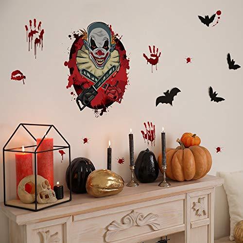 BLOUR Horror Clown Mit Säge Toilette Glas Fenster Aufkleber Home Decor Abnehmbare Halloween Wohnzimmer Klassenzimmer Dekoration Wallpaper