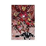 Lienzo de pared Arte Abstracto Contemporáneo Iron Man Rojo Arte Ilustración Anime para Sala Oficina Paleta 30x45cm