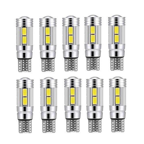 YEZIB Bombilla LED 10 Unids T10 LED 194 W5W 10 SMD Canbus Sin Error Car Side Side Light Bulb 12V Luz Interior Automática for Coche Luz LED para la Calle, Garaje, iluminación de almacenes