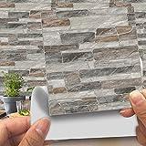 Hiser 20 Piezas Adhesivos Decorativos para Azulejos Pegatinas para Baldosas del Baño/Cocina Imitación de Cuero imitación Piedra 3D Estilo ladrillo Resistente al Agua Pegatina de Pared (LA019,15cm)
