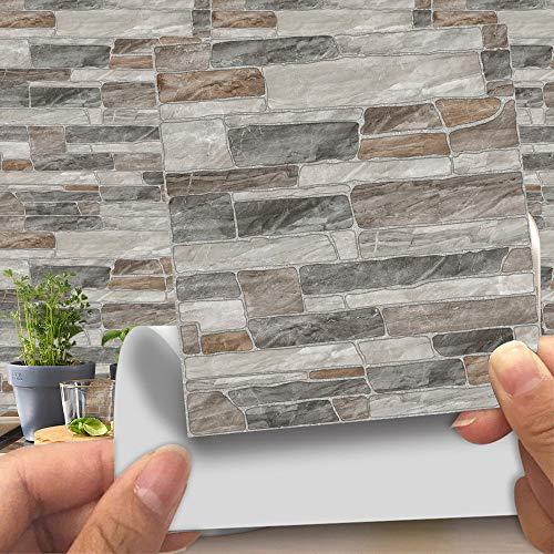 Hiser 20 Piezas Adhesivos Decorativos para Azulejos Pegatinas para Baldosas del Baño/Cocina Imitación de Cuero imitación Piedra 3D Estilo ladrillo Resistente al Agua Pegatina de Pared (LA019,10cm)