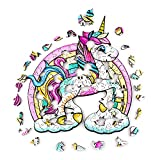 Yarmy Rompecabezas De Madera,Rompecabezas Animal para Navidad,Juguete De Rompecabezas Animales para Adultos Y Adolescentes El Mejor para La Colección De Juegos(Unicornio Arcoiris)