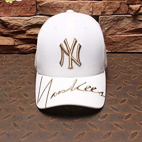 xiaoshicun Hut Männer und Frauen Ny Cap Gold Standard Yankees Hut Mode Flut Marke Baseball Cap Damen Hut kein interner Standard Weiß einstellbar