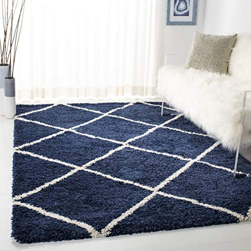 Safavieh Hudson Shag Collection SGH281C Navy and Ivory Moroccan Diamond Trellis Area Rug (3' x 5')