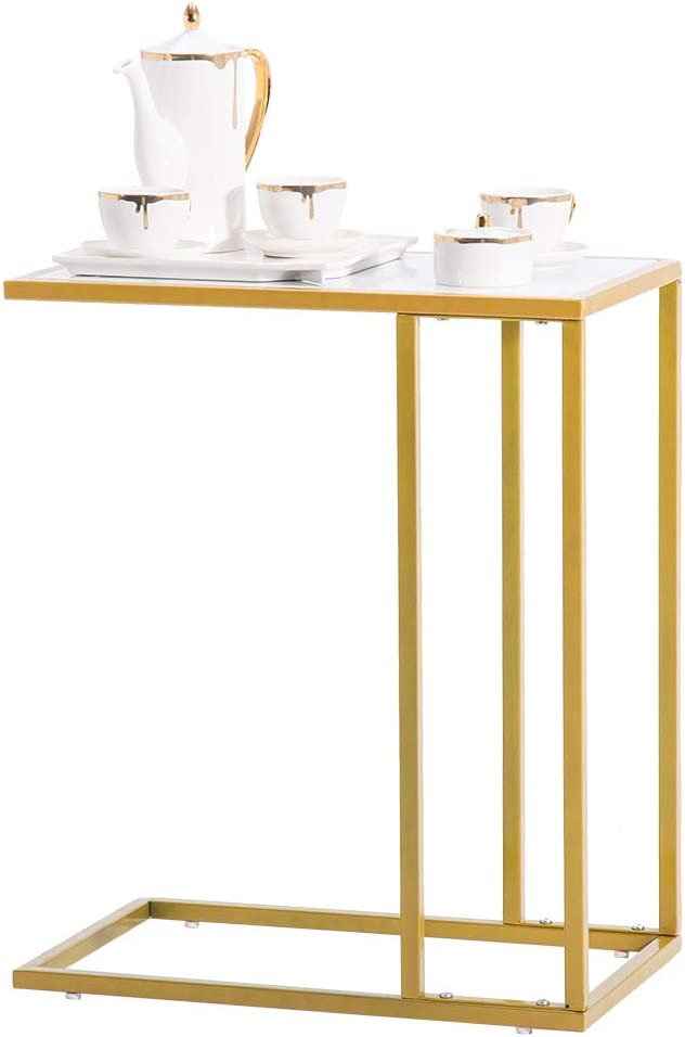 SSLine Gold Sofa Side Magazine Snack Table depot Choice Marbl White with Faux