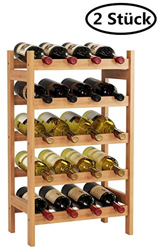 HOMECHO Bamboo Wine Rack with 5-Tier Storage Shelf 20 Bottles Display Stand Shelves Free Standing Wobble-Free Natural Color HMC-BA-002