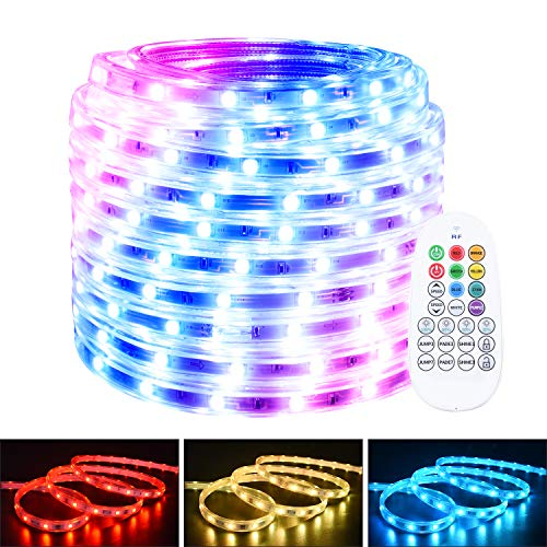 RGB Rope Lights Outdoor Waterproof,65.6ft LED Strip Light Color Changing 5050 LEDs 110V Power Plug-in RF Remote Flexible Indoor Dimmable Tape Lighting for Patio Deck Room Party Garden