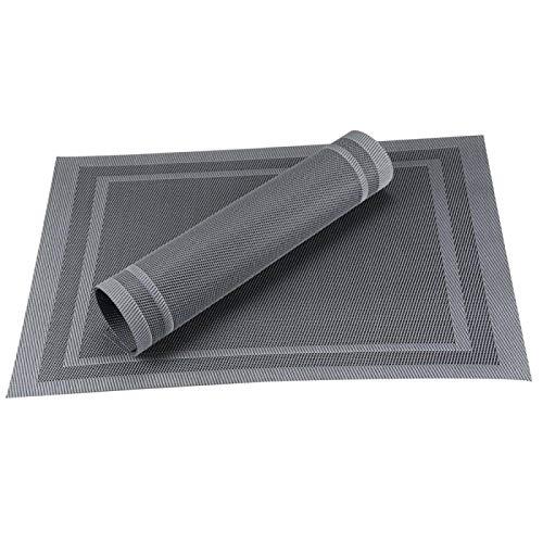 Juego de 6/4 manteles individuales de PVC lavables para mesa de comedor, manteles individuales antideslizantes en accesorios de cocina, posavasos y copas de vino, juego de 4 unidades, color gris