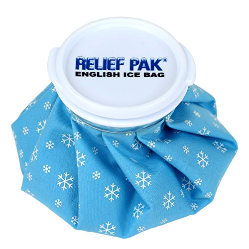 """Relief Pak English-Style Ice Bag / Pack Cold Therapy to Reduce Swelling, Decrease Pain and Offer Cold Compression Relief from Bruises, Migraines, Aches, Swellings, Headaches and Fever, 9"""" Diameter"""
