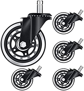 Selcouthlie 5Pcs Office Chair Caster 3 Inch Office Chair Wheel Replacement Game Chair Universal Wheel Soft Safe Rollers(11...