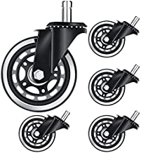 Varadyle 5Pcs Office Chair Caster Office Chair Wheel Replacement 3 Inch Game Chair Universal Wheel Soft Safe Rollers(10X22)