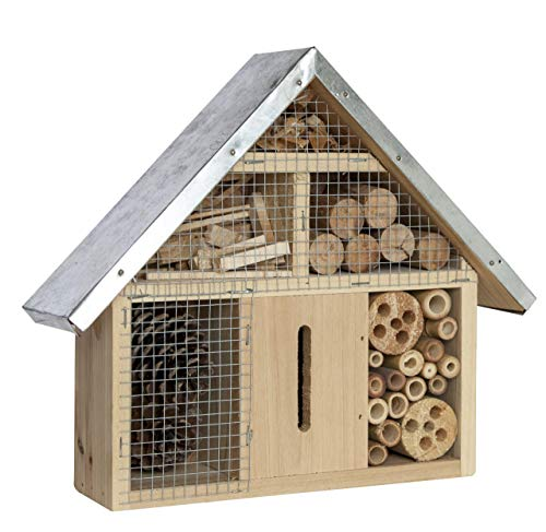 SIAM EXPRESS Insect Wooden Hotel With Galvanised Metal Roof House Nest Home Bee Keeping Bug Garden Ladybird Box 24-24
